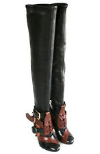 TOM FORD $2950 over the knee thigh high leather buckle strap heel boots 38 NEW