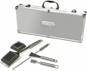 Cuisinart 8 piece BBQ Cleaning Set Solid Stainless Steel SBQ02E Suitcase