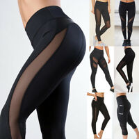 Women High Waist Black Mesh Leggings Gym Yoga Pants Workout Sports Fitness Pants