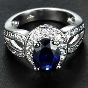 CNL104 Handmade 3.20CT Natural Sapphire 14K White Gold Ring Size US7