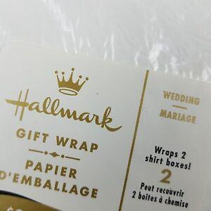 Vintage Wedding Hallmark Gift White Wrap Paper Two Sheets Marriage USA Made