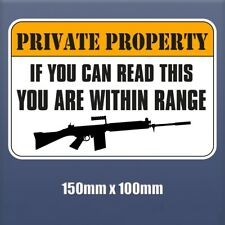 Private property sign  -  150mm x 100mm - Self Adhesive Vinyl sticker S195