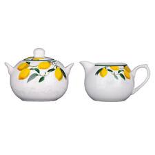 Sugar Jar and Cream Jug Set Lemon Tree Bone China Porcelain Kitchen Canisters