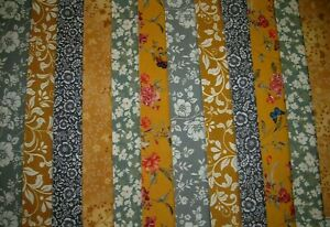 """12 JELLY ROLL STRIPS   44"""" X 2.5"""" GREY & OCHRE 100% COTTON PATCHWORK/QUILT CGY"""