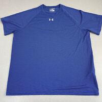 Under Armour HeatGear Activewear Shirt Mens 2XL Blue Loose Fit Striped Workout