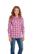 Ladies Cowgirl Up Long Sleeve Enzyme Wash Woven Shirt CG60501 Size Small