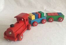 Vintage Heros All Wooden Train with Blocks Western Germany Toy