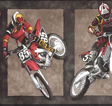 "Wallpaper bordeR Wall DIRT BIKES MOTORCYCLE RACING 10 1/4"" WIDE SPORTS"
