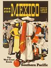 See Mexico Southern Pacific Vintage Mexican Travel Advertisement Art Print