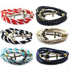 New Men's Rope Wristband Bracelet Handmade Multilayer Women Leather Men Bangle