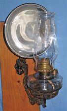 ANTIQUE WALL BRACKET OIL LAMP BACKPLATE HOLDER GLASS FONT MERCURY REFLECTOR