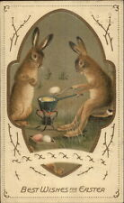 Easter Fantasy - Rabbits Cooking Eggs on Camp Stove c1910 Postcard