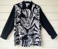 Diane Gilman Women's Size L 100% Silk Blouse Beaded Long Sleeve Sequins Black