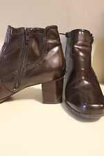 east 5th brown faux leather booties vegan boots shoes size 9.5 w zip up