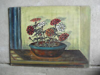Vintage 1950s Mary B Schuster Signed Oil Painting Flowers in Pot Still Life