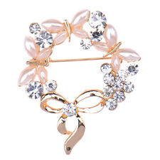 White Stunning Party Rhinestone Crystal Brooches Pretty Flower Pins Gift