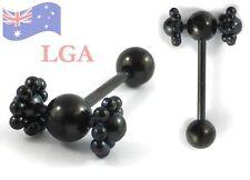 1 Tongue Bar Ring Bolt SPINNER Spinning wheels piercing Black Anodized Titanium*