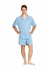 Mens Short Summer Cotton Blend Pyjamas Pjs Set Blue Diamond