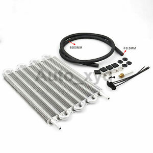 8 Row Transmission Oil Cooler Kit Aluminum Car Radiator Universal Replacement