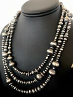 Navajo Pearls Native American Sterling Silver Necklace Gift 3 Strand Removable