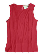 Ann Taylor LOFT - S - NWT - Cranberry Red Ladder Lace Mixed Media Shell Top