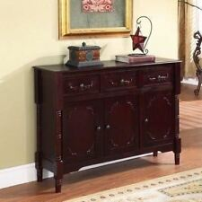 Cherry Finish Buffet Console Table Server Wooden Curio Display Dining Storage