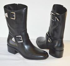 New $295 Michael Kors Robin Mid-Calf Boot Black Leather Silver Buckle sz 7