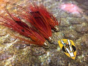 3 V Fly 1 Inch Ultimate Conehead Aaroy Prawn Salmon Tube Flies & Trebles