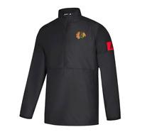 Men's Adidas Chicago Blackhawks NHL Authentic 1/4 Zip Pullover Black