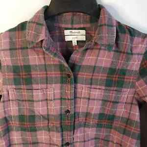 Madewell Red Long Sleeve Flannel Plaid Shirt XS