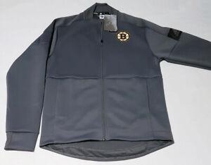 $80 Adidas Men's Small NHL Boston Bruins Game Mode Bomber Jacket EB6897 Grey