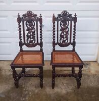 Set Of 2 Victorian Gothic Oak Dining Chairs