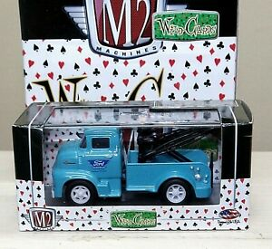 M2 Wild Cards premium edition 1956 Ford COE Tow Truck 13-01 1:64 blue Service