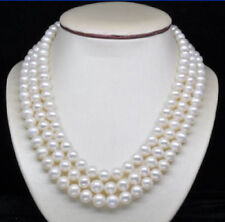 "New triple strands 9-10mm AAA south sea white pearl necklace 17"" 18' 19""' 14K"