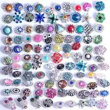 50pcs/lot High Quality 18mm Metal Snap Button Rhinestone Charm Fit Snaps Jewelry
