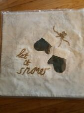 "Pottery Barn Let It Snow Mittens Snowflake 20"" Pillow Cover ~ Christmas/Holiday"