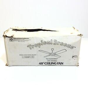 "Moss Manufacturing 48"" NOS NIB Vintage 1982 Tropical Breeze Ceiling Fan"