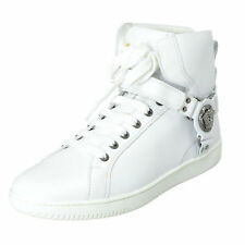 fabf851842c Versace Men s White Leather Hi Top Fashion Sneakers Shoes 7 8 8.5 9 10 11