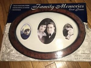 NEW Family Memories - Victorian Style Oval WOOD Frame, holds 3 pix brown black