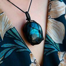 Collier avec pendentif en cristal naturel de Labradorite naturel chic, pierre