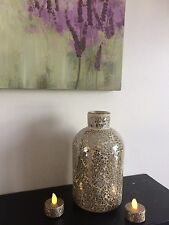 CRACKLE GOLD MIRRORED MOSAIC DECORATIVE BOTTLE VASE AND 2 LED GLITTER TEALIGHTS
