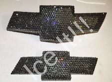CHEVY Camaro Bowtie Front & Rear GM Emblem Swarovski Crystals Black Diamond