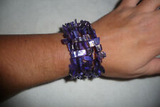 Gorgeous Mother Of Pearl chunks purple tone wrap around STATEMENT bracelet
