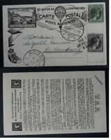 VERY RARE 1927 Luxembourg Philatelic Exposition Postcard 2 stamp with cachets