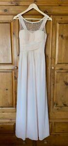 Pale Apricot/Peach Beaded Maxi Bridesmaid Dress. Size - 14