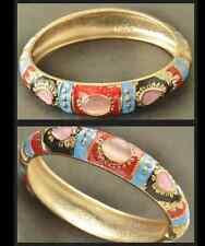 18 K Gold bangle Pink Opal Red Blue Enamel  Bracelet  One Size Cuff