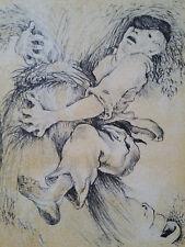Lithographie Nicolas Eekman sign/n°Belge Flamand Paysan Gerbe de Blé Fantastique