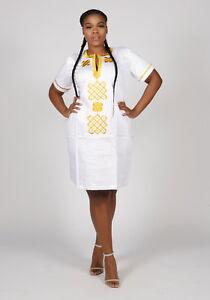 African Dashiki Embroidered Polished Cotton Sexy Dress Size-UK10,12,14,16,18
