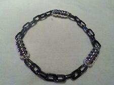 John Hardy Men's Sterling Silver Black Stainless Steel Bedeg Link Bracelet $395