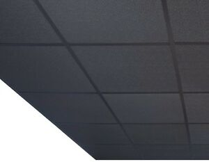 10 Square Meter Black Suspended Ceiling Tiles & Complete Grid System 600 * 600mm